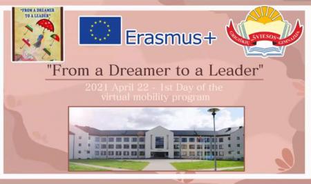 """Erasmus+ KA2 strateginių partnerysčių projektas """"From a dreamer to a leader"""" (1 diena)"""